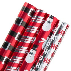 4ct American Greetings Reversible Foil Gift Wrap Red/Black/Silver - 80 sq ft