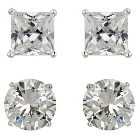 Sterling Silver Cubic Zirconia Duo Stud Earring Set - Clear - image 1 of 1