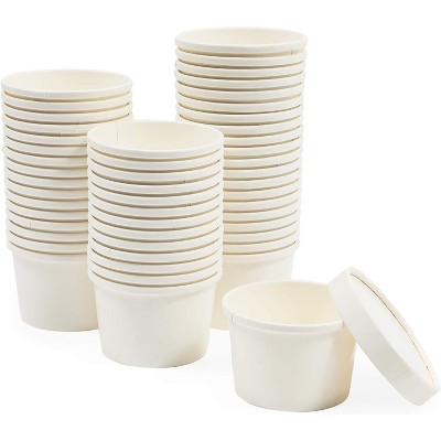 Juvale 50 Pack 8 oz Disposable Soup Containers+Lids, Take Out Cups, Hot/Cold Food to Go, Ice Cream, White