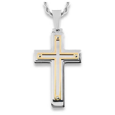 Men's West Coast Jewelry Silvertone and Goldplated Stainless Steel Multiple Layer Cross Pendant - image 1 of 3