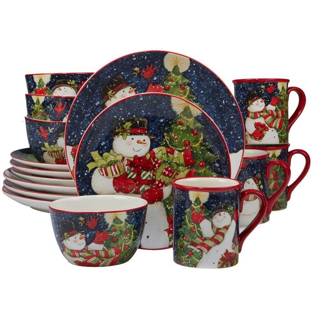 16pc Starry Night Snowman Ceramic Dinnerware Set - Certified International