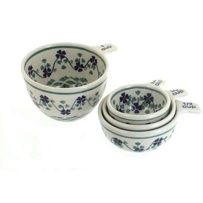 Blue Rose Polish Pottery Sage Floral Measuring Cup Set