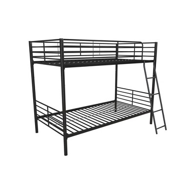 Twin Over Twin Convertible Metal Bunk Bed Black - Room & Joy