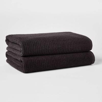 2pk XL Quick Dry Ribbed Bath Towel Set Washed Black - Threshold™