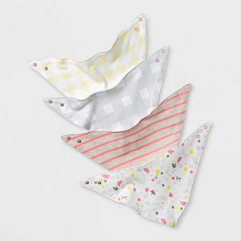 Baby Girls' 4pk Meadow Bandana Bib Set - Cloud Island™ White - image 1 of 1