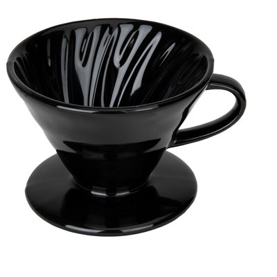 Mind Reader Pour-Over Ceramic Dripper Coffee Maker withSpiral Ridge Walls, 2 Cup