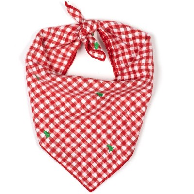 The Worthy Dog Flannel Check Embroidered Trees Classic Square Tie-On Bandana
