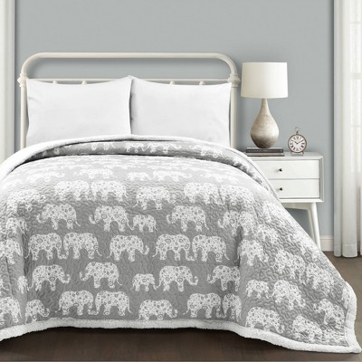 Elephant Parade Sherpa Blanket Gray - Lush Décor