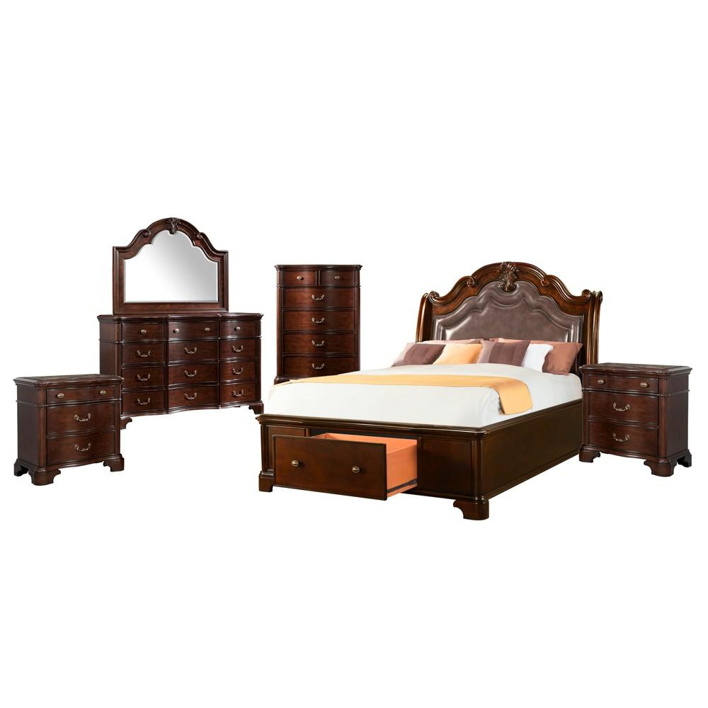 6pc Tomlyn Queen Storage Bedroom Set Dark Cherry - Picket House Furnishings, Beige