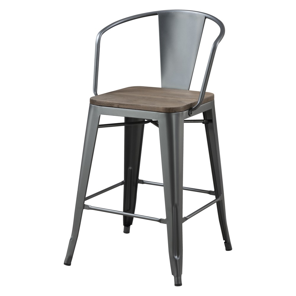 Image of Set of 2 Gregg Industrial Counter Height Chair Natural Elm/Gray - ioHOMES