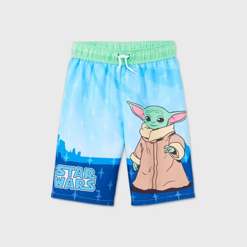 Boys' Star Wars Baby Yoda Swim Trunks - Blue - image 1 of 2