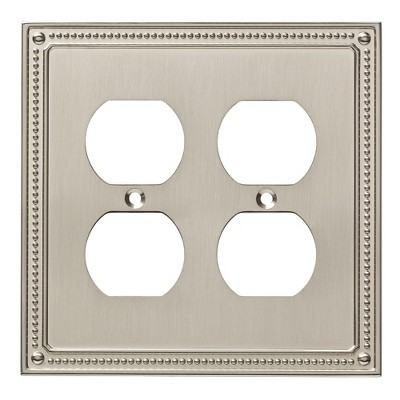 Franklin Brass Classic Beaded Double Duplex Wall Plate Nickel