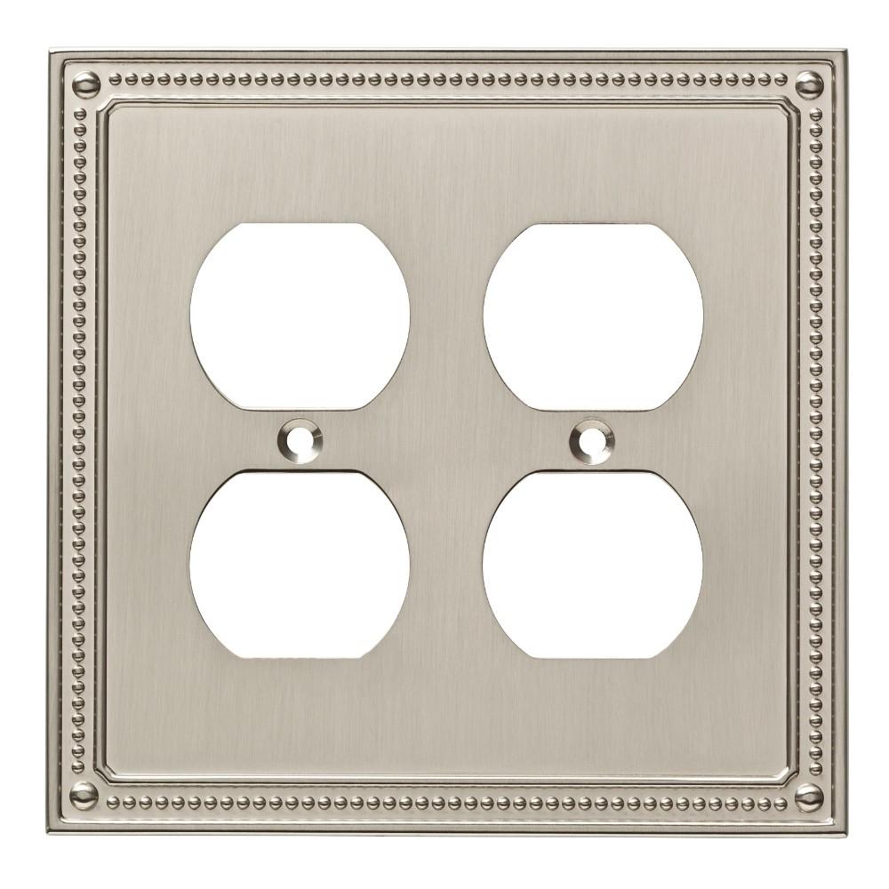 Classic Beaded Double Duplex Wall Plate Satin Nickel - Franklin Brass