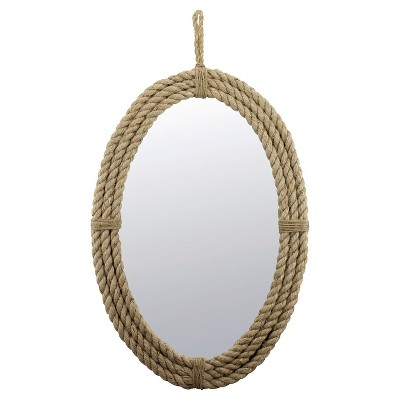 "24.8"" x 16.5"" Decorative Oval Rope Wall Mirror with Loop Hanger Tan - Stonebriar Collection"