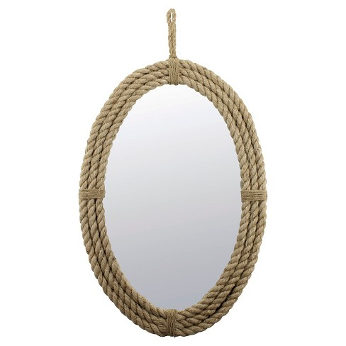 """24.8"""" x 16.5"""" Decorative Oval Rope Wall Mirror with Loop Hanger Tan - Stonebriar Collection - image 1 of 4"""