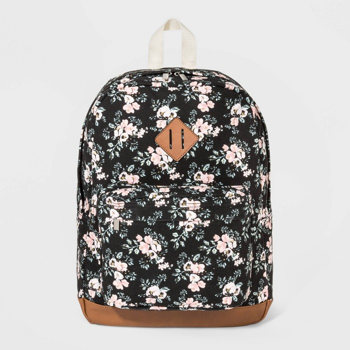 Floral Print Canvas Backpack - Wild Fable™ Black - image 1 of 4