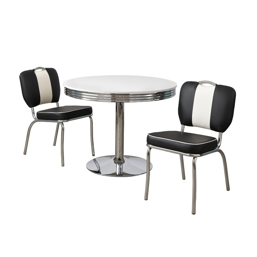 3pc Raleigh Retro Dining Set White/Black - Buylateral
