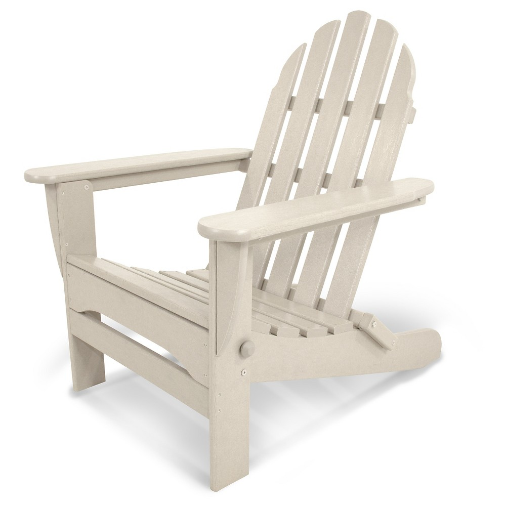 Image of POLYWOOD Classic Folding Patio Adirondack Chair - Beige