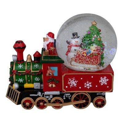 """Northlight 8.5"""" Green and Red Christmas Train Snow Globe"""