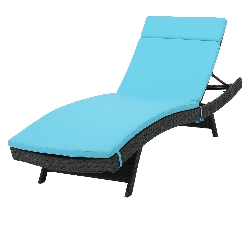 Salem Gray Wicker Adjustable Chaise Lounge - Blue - Christopher Knight Home