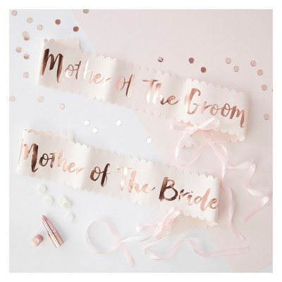 "2ct 2pk ""Mother Of The Bride Groom"" Wedding Sashes"