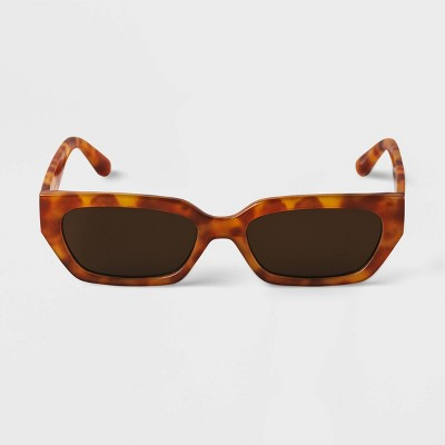 Women's Tortoise Print Rectangle Sunglasses - A New Day™ Brown