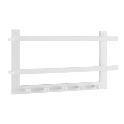 "29"" x 16"" 2 Tier Coat Rack and Wall Shelf White - Danya B."