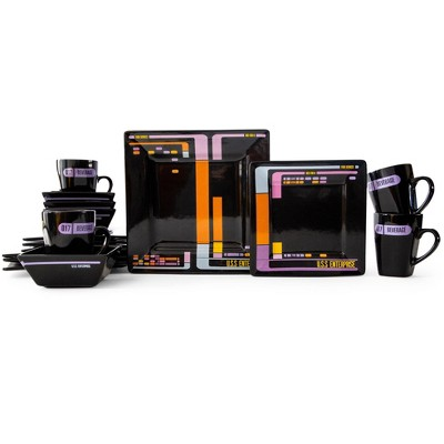 Robe Factory LLC Star Trek: The Next Generation LCARS Interface 16-Piece Ceramic Dinnerware Set