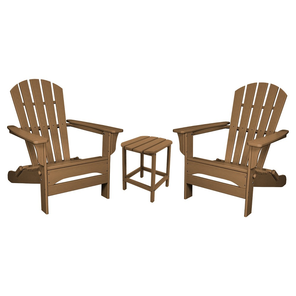Polywood St. Croix Folding Adirondack 3-Piece Set - Teak (Brown)