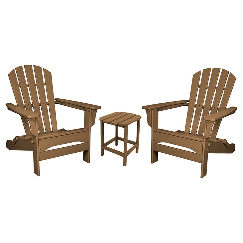 POLYWOOD® St. Croix Folding Adirondack 3-Piece Set - Teak - image 1 of 1