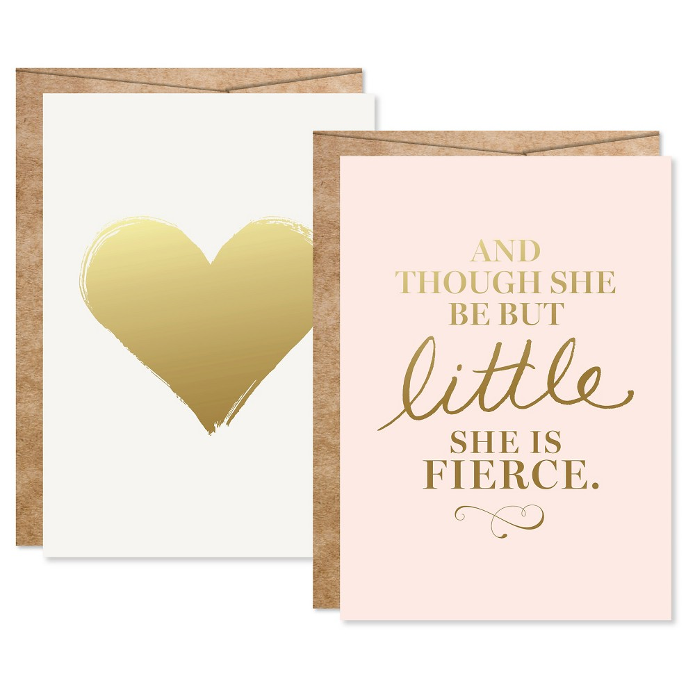 Image of 2ct Baby Girl Gold Foil Art Cards Pink