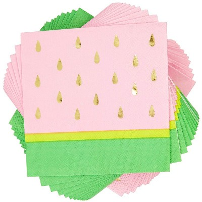 """Sparkle and Bash 50 Pack Watermelon Disposable Paper Napkins 5"""" for Kids Birthday Party Decorations"""