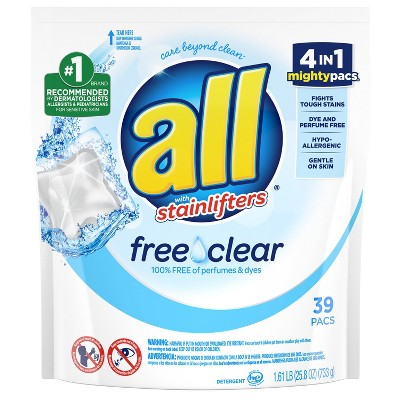 All Mighty Pacs Free Clear Laundry Detergent Pacs - 39ct