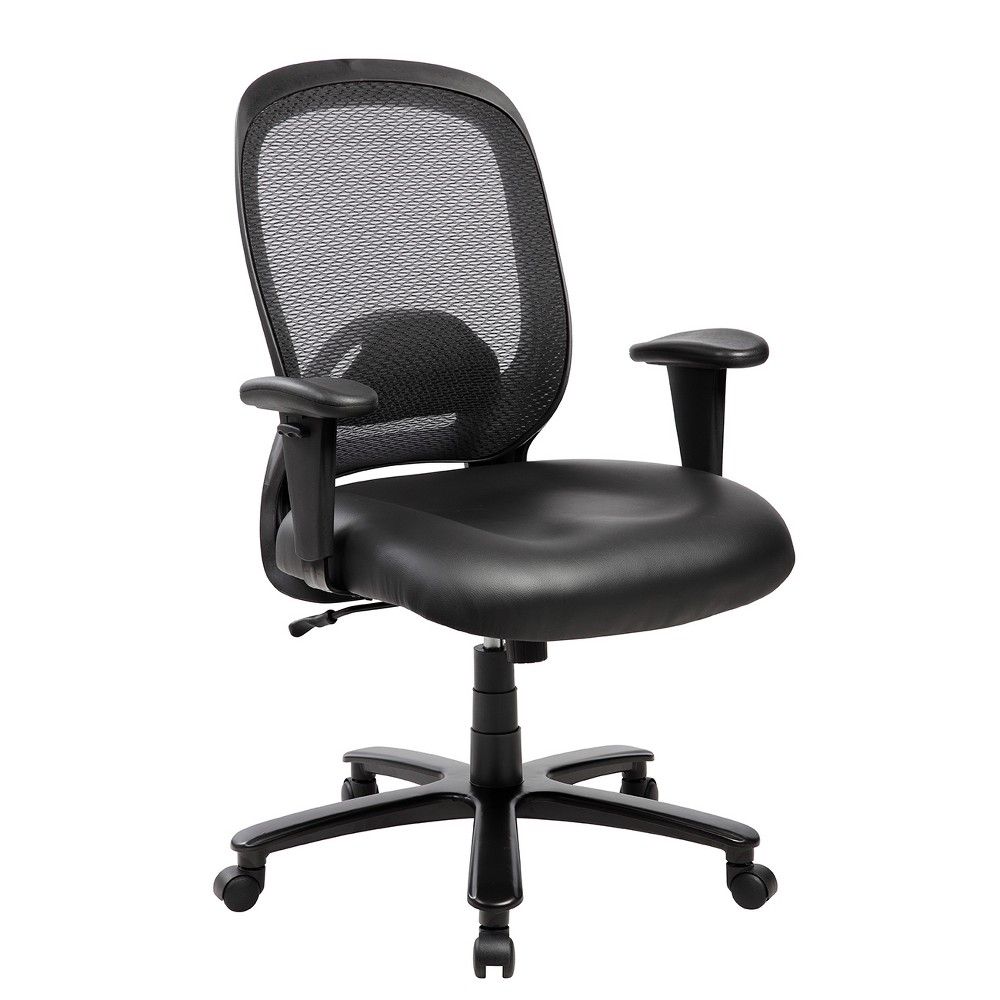 Image of Comfy Big and Tall Office Computer Chair- Black- Techni Mobili