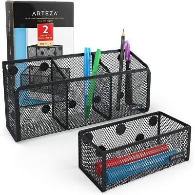 Arteza Desk Organizers, Magnetic, Black Mesh, Set of 2
