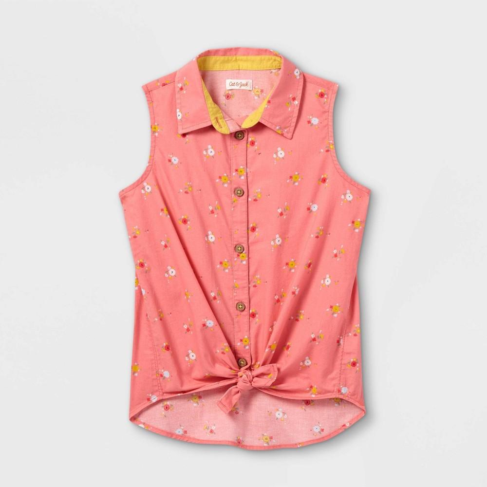 Girls 39 Sleeveless Button Down Shirt Cat 38 Jack 8482 Pink S