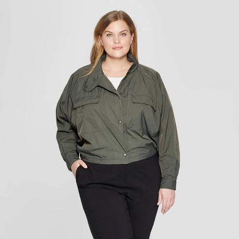 983afe9a18b88 Women s Plus Size Long Sleeve Crop Utility Bomber Jacket - Prologue™ Deep  Sea Green