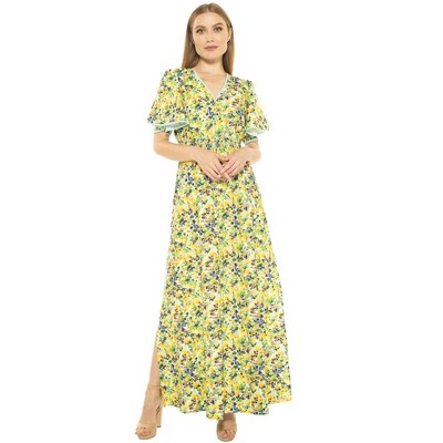 Alexia Admor Gianna V Neck Flutter Slv Maxi Dress