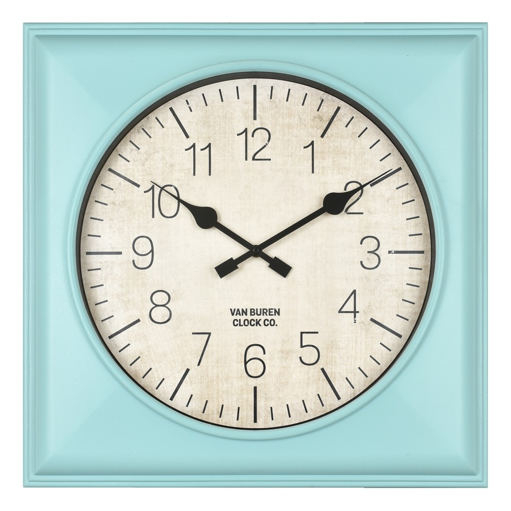 """Image of """"20"""""""" Rustic Teal Square Wall Clock Teal - Threshold"""""""