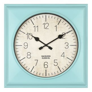 "20"" Rustic Teal Square Wall Clock Teal - Threshold™"