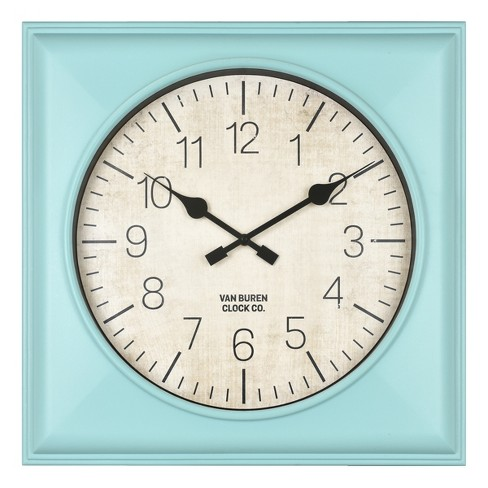 """20"""" Rustic Teal Square Wall Clock Teal - Threshold™ - image 1 of 4"""
