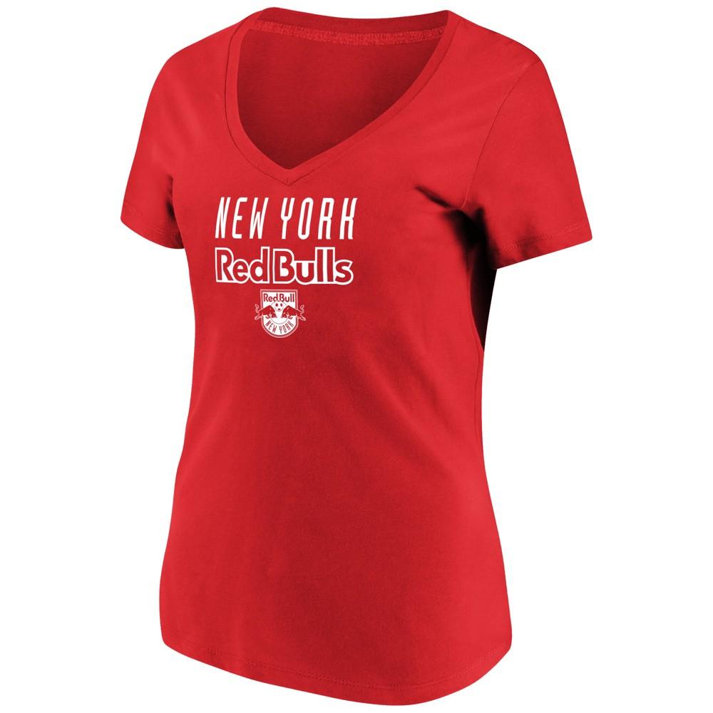 Mls Women's Short Sleeve V-Neck T-Shirt New York Red Bulls - L, Multicolored