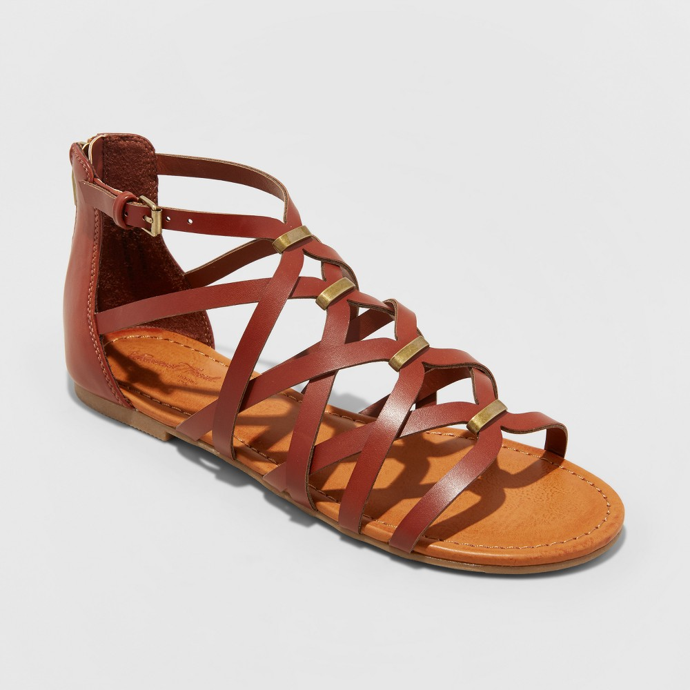 Women's Kerri Gladiator Sandals - Universal Thread Cognac (Red) 8