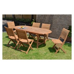 7pc Edgewater Teak Oval Dining Set - Amazonia