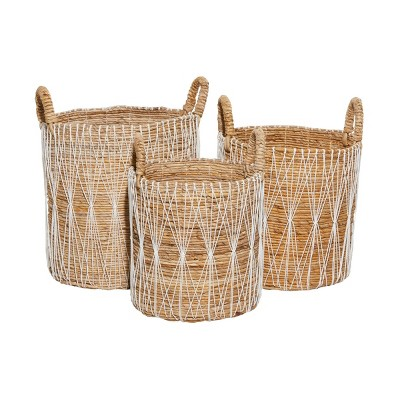 3pk Banana Leaf Storage Basket Brown - Olivia & May