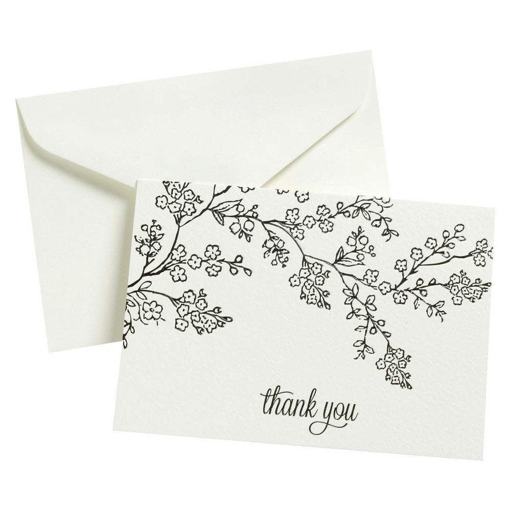 Image of Thank You - 50 Ct FLP Blk Line Floral, White