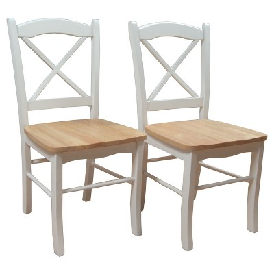 Set of 2 Tiffany Dining Chair Wood/Natural/White - TMS