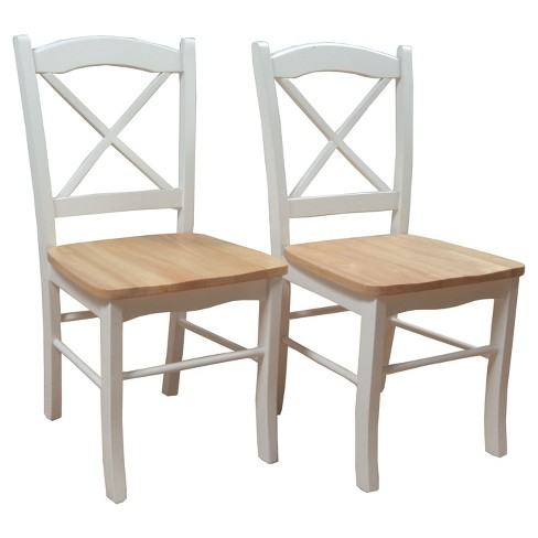 Set of 2 Tiffany Dining Chair Wood/Natural/White - TMS - image 1 of 3