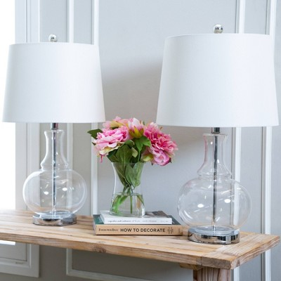 Felicia Set Of 2 Clear Glass Table Lamps Clear (Lamp Only)   Abbyson Living