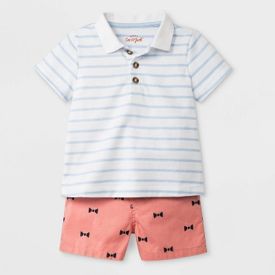 Baby Boys' Short Sleeve Polo and Twill Shorts Set - Cat & Jack™ White/Peach 3-6M